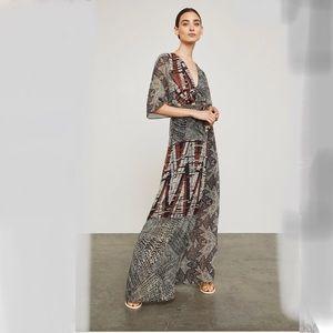 NWT- bcbg patchwork maxi wrap dress